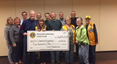 Boulder Junction Lions Club Presents $500 Donation to the Boulder Junction Community Foundation
